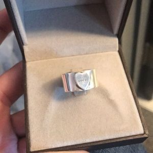 Thick Sterling Silver Authentic Gucci Heart Ring